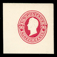 U105 90c Carmine on White, Mint Full Corner, 43 x 43
