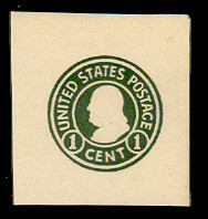 U420a 1c Green on White, die 2, Mint Cut Square, 40 x 40