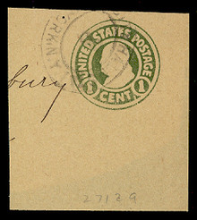 W425a 1c Green on Manila, die 3, Used Full Corner, 50 x 60