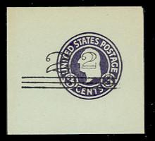 U471e 2c on 3c Dark Violet on Blue, Double Surcharge, types 2 & 4,  die 1, Mint Full Corner, 50 x 50