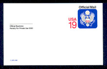 UZ5 UPSS# O5 19c Official Mail, multicolored  Mint Postal Card