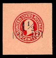 U503 1 1/2c on 2c Carmine on Oriental Buff, die 5, Mint Full Corner, 43 x 44