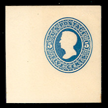U172 5c Blue on White, die 1, Mint Full Corner, 50 x 50
