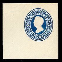 U172 5c Blue on White, die 1, Mint Cut Square, 47 x 47