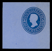 U175 5c Blue on Blue, die 1, Mint Cut Square, 47 x 50