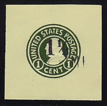 U496b 1 1/2c on 1c Green on Amber, die 4, Mint Cut Square