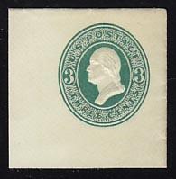U159 3c Green on White, die 1, Mint Full Corner, 45 x 45