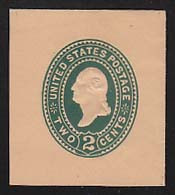 U320 2c Green on Oriental Buff, die 3, Mint Cut Square, 40 x 45