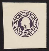 U477 2c on 3c Dark Violet on White, die 1, Mint Full Corner, 44 x 46