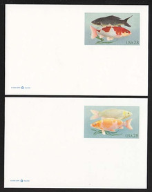 UX555 & UX556 28c Koi Fish Mint Postal Cards