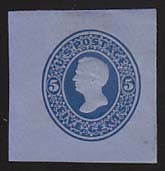 U175 5c Blue on Blue, die 1, Mint Cut Square