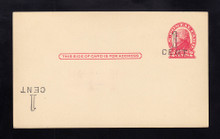 UX33e UPSS# S45-27g, New Orleans Surcharge Plus Inverted LL, Mint Postal Card