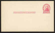 UX30 UPSS# S42 1c Thomas Jefferson, Red on Cream, Die 2 Clean Face Postal Card