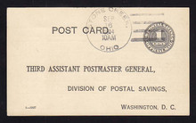 UZ1 UPSS# O1 1c Official Mail, black, Used Postal Card, Stone Creek, OH
