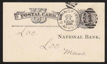 "UX7 UPSS# S6d 1c Liberty Head, ""Nothing but addr..... Used Postal Card, Re-entry in ONE CENT"