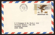 UXC15 UPSS# SA14 18c Eagle Weather Vane Postal Card, Used to Hong Kong