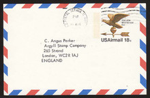 UXC15 UPSS# SA14a 18c Eagle Weather Vane Postal Card, Used to England
