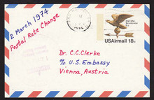 UXC15 UPSS# SA14a 18c Eagle Weather Vane Postal Card, Used to Austria