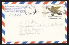 UXC16 UPSS# SA15 21c Angel Weather Vane Postal Card, Used to Czechoslovakia