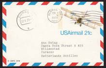 UXC17 UPSS# SA16 21c Curtiss Jenny Postal Card, Used to Curacao
