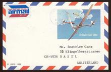 UXC20 UPSS# SA19 28c Gliders Postal Card, Used to Switzerland