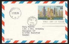 UXC23 UPSS# SA22 33c Ameripex '86, Chicago Postal Card, Used to Sweden uxc0023.u4