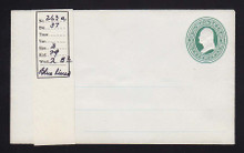 U82 UPSS # 172A 3c Green on White, Mint Entire with Ruled Lines