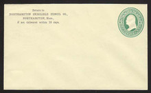 U83 UPSS # 186a 3c Green on Amber, Mint Entire, CC