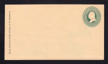 U84 UPSS # 193A 3c Green on Cream, Mint Entire, GR with Ruled Lines