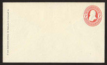 U88 UPSS # 222 7c Vermillion on Amber, Mint Entire, GR
