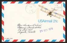 UXC17 UPSS# SA16 21c Curtiss Jenny Postal Card, Used to Tahiti