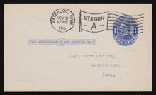 UX21e UPSS# S28f 1c William McKinley, Blue on bluish, Four Pointed Arcs, Type 1, Used Postal Card