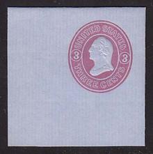 U36 3c Pink on Blue, Mint Full Corner, 50 x 50