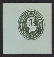 U513a 1 1/2c on 1c Green on Blue, die 4, Mint Full Corner