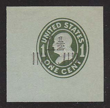 U513a 1 1/2c on 1c Green on Blue, die 4, Mint Cut Square