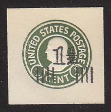 U515a 1 1/2c on 1c Green on White, die 2, Mint Cut Square