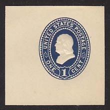 U295 1c Dark Blue on White, Mint Cut Square, 47 x 47