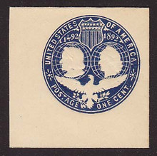 U348 1c Blue on White, die 1, Mint Full Corner