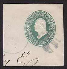 U168 3c Green on White, die 3, Used Cut Square