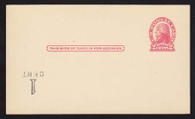 UX33 UPSS# S45-11f, Cleveland Surcharge Inverted LL, Mint Postal Card