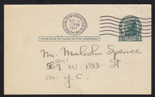 UX27D UPSS# S39 1c Thomas Jefferson, Dark Green on Grayish Used Postal Card