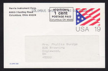 UX153 UPSS# S166 19c Stylized Flag Used Postal Card, Columbus, OH Revalue