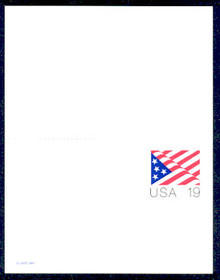 UY40 UPSS# MR50 19c Stars & Stripes Mint UNFOLDED