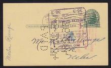 UX27 UPSS# S37E 1c Thomas Jefferson, Green on Buff Used Postal Card