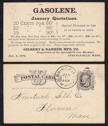 UX7 Springfield, MA 1884 Gasolene Quotations Advertising