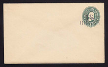 U488, UPSS #3080 1 1/2c on 1c Green on White, Mint Entire