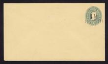 U489, UPSS #3081 1 1/2c on 1c Green on Amber, Mint Entire
