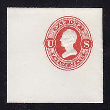 UO40 12c Vermillion on White, Mint Full Corner, 50 x 50