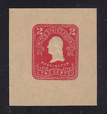W399 2c Carmine on Manila, Mint Cut Square