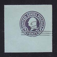 U451 2c on 3c Dark Violet on Blue, die 1, Mint Full Corner, 50 x 50